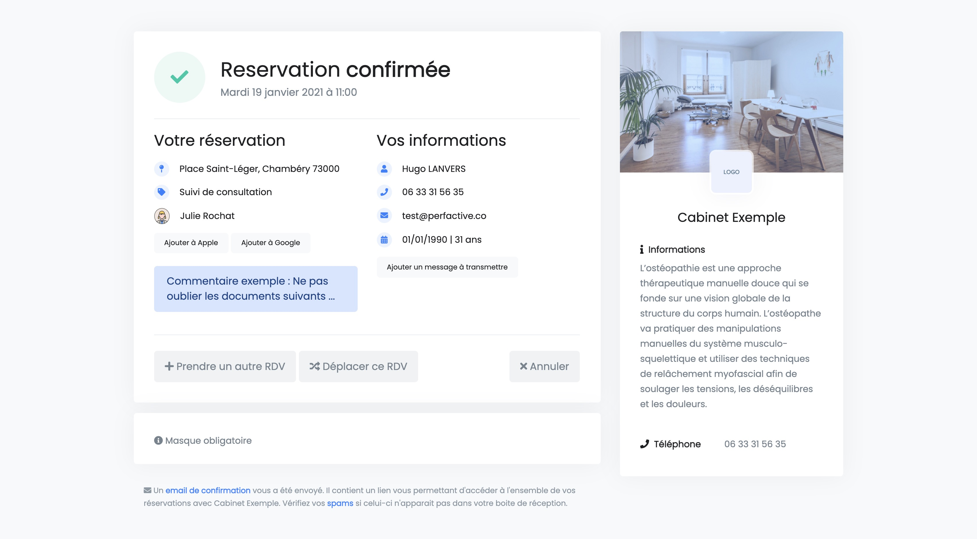 Réservation en ligne | Confirmation | PERFACTIVE